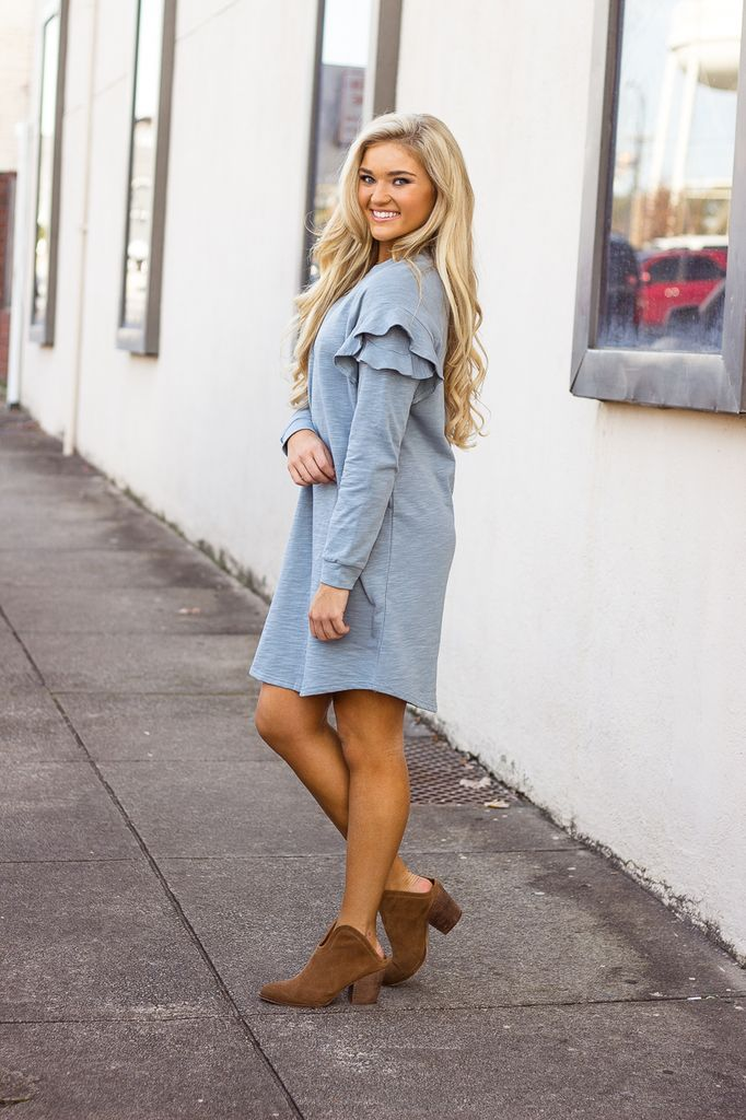 She & Sky French Terry Dress with Ruffle Shoulders