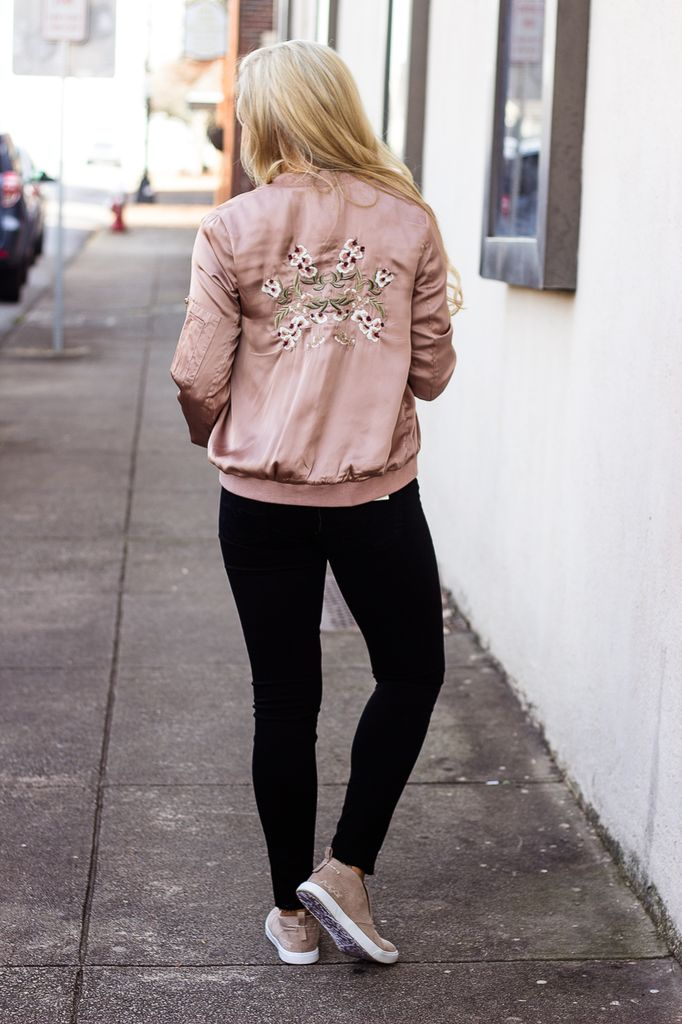 She & Sky Satin Bomber Jacket with Floral Embroidery