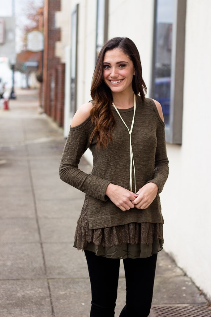She & Sky Cold Shoulder Top with Lace and Chiffon Contrast Hem