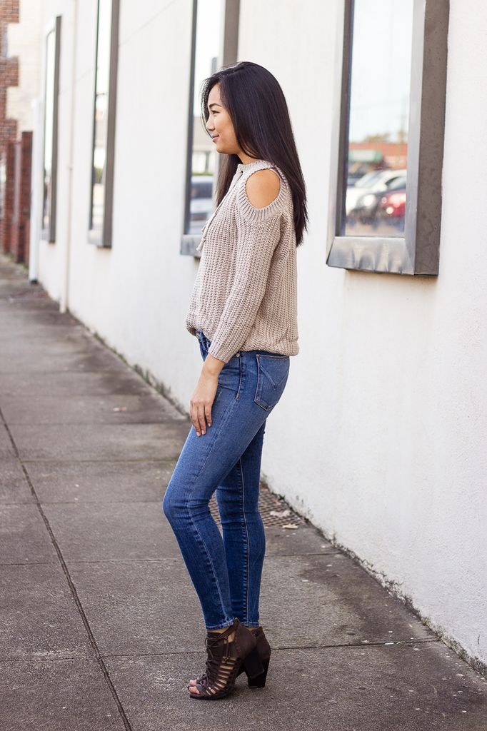 She & Sky Front Lace Up and Cold Shoulder Sweater