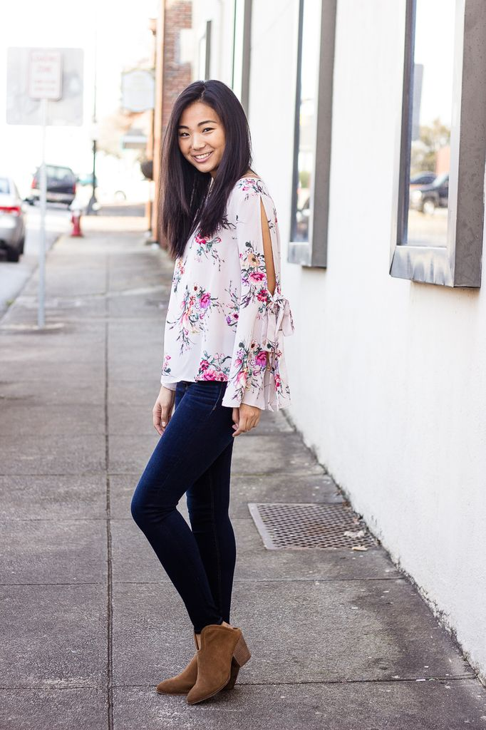 She & Sky Open Sleeve Floral Top with Sleeve Ties