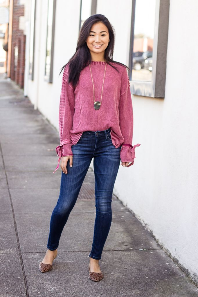 She & Sky Stone Wash Sweater with Sleeve Ties