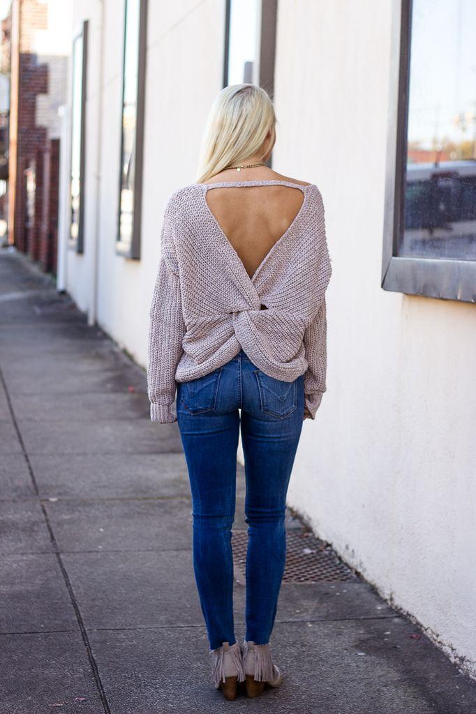 She & Sky Back Twist Detail Sweater