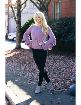 She & Sky Long Triple Ruffled Bell Sleeve Sweater