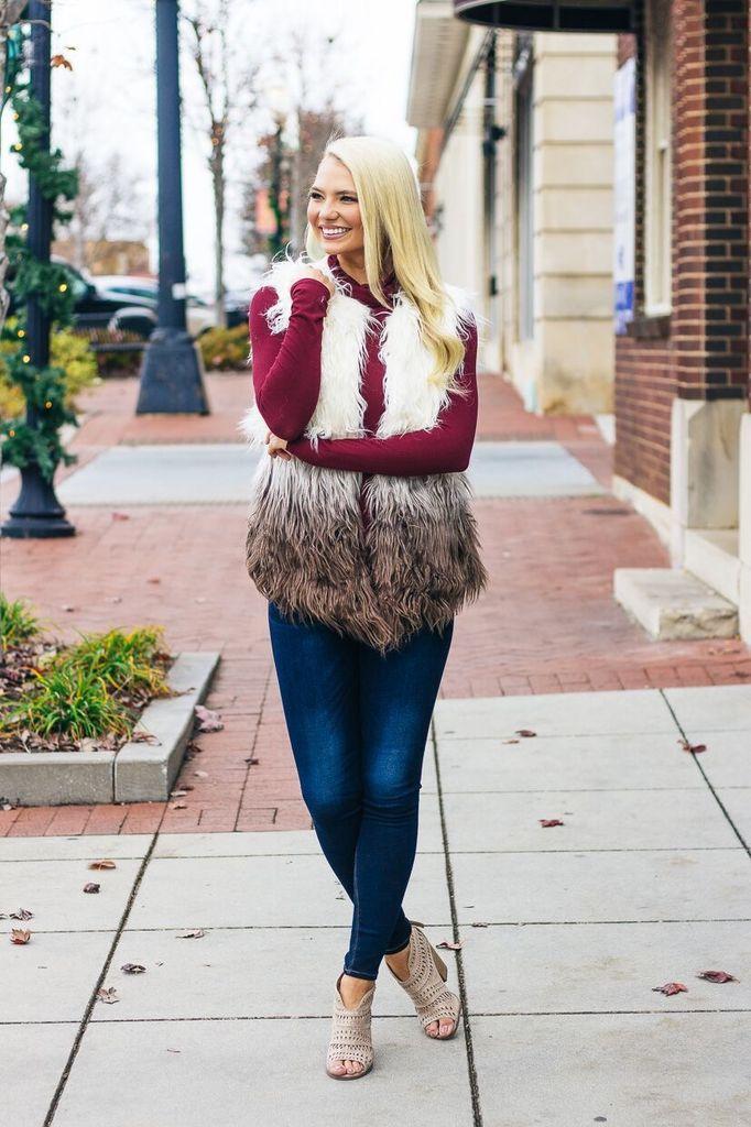 She & Sky Faux Fur Ombre Vest