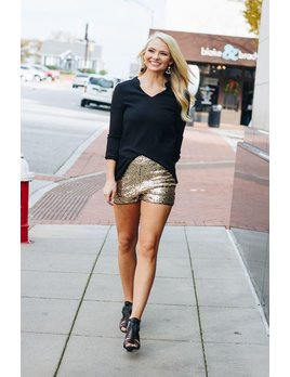 She & Sky Sequin Shorts with Contrast Piping Detail
