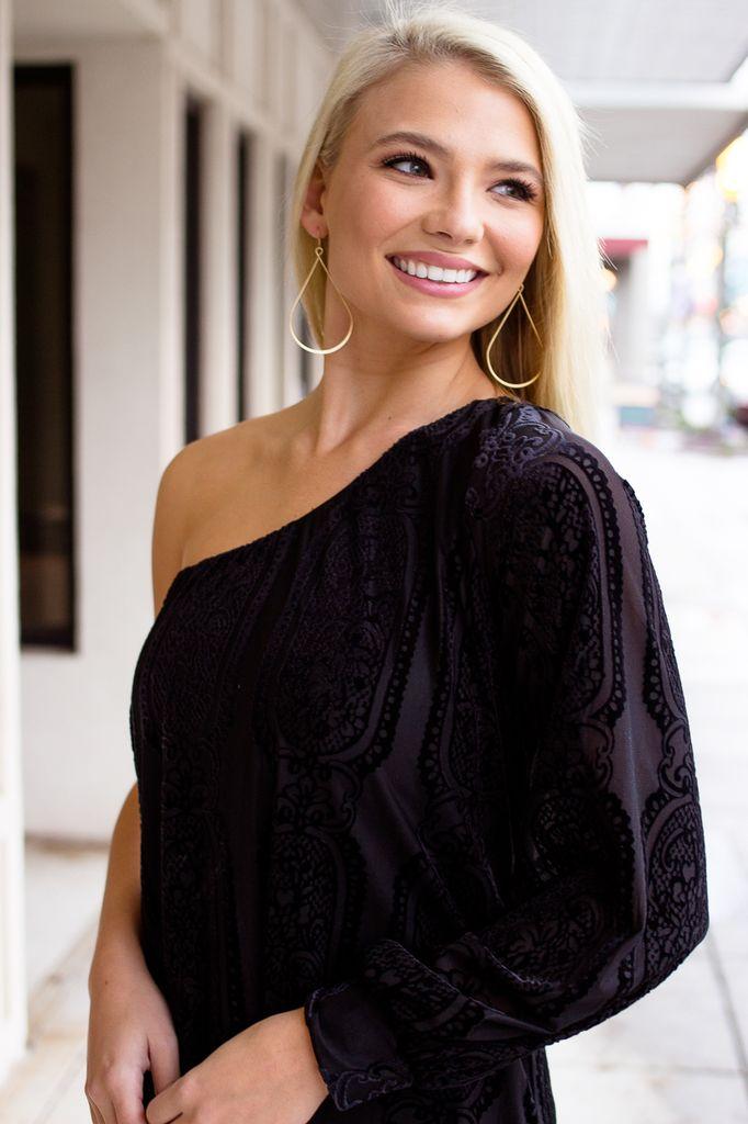 Karlie Velvet Burn Out One Shoulder Dress