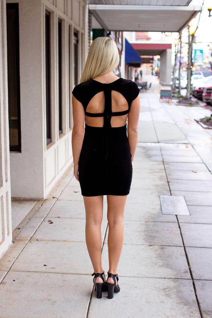 Karlie Solid Velvet Cut Out Back Dress