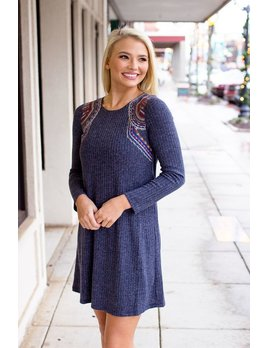 THML Embroidered Rib Dress