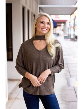 Karlie Sweater Ribbed Choker Neck Top