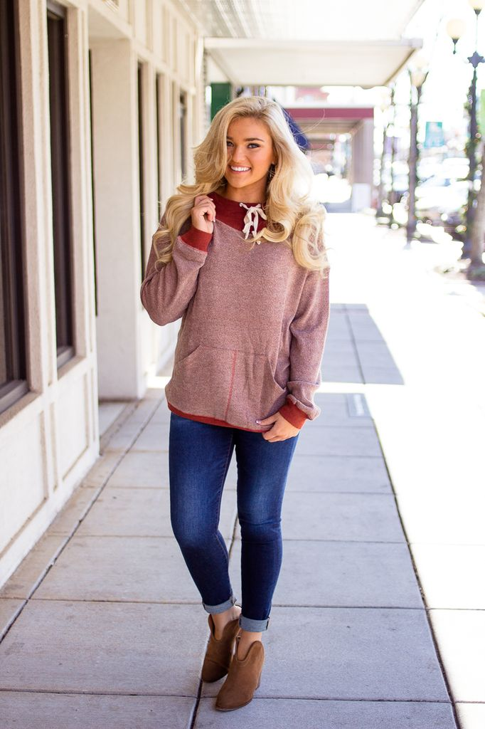 Cowl Neck Hoodie with Contrast Hood