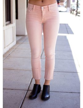 Hudson Tally Deep Cuff Crop Skinny in Worn Rosewater