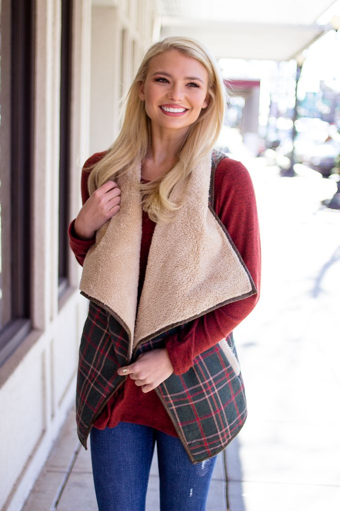 Plaid Fur Lined Vest