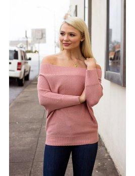 TCEC Off Shoulder Ribbed Neck Sweater