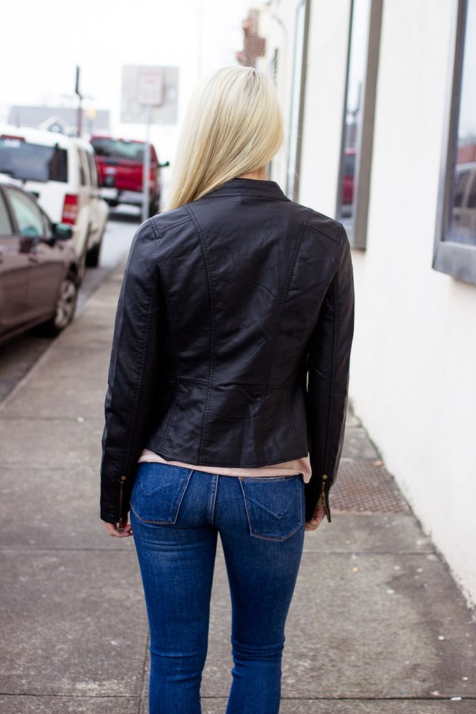 Faux Leather Jacket with Zipper Detail