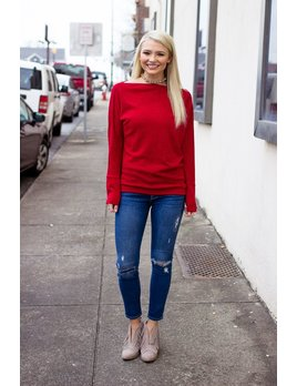 Boat Neck Solid Sweater