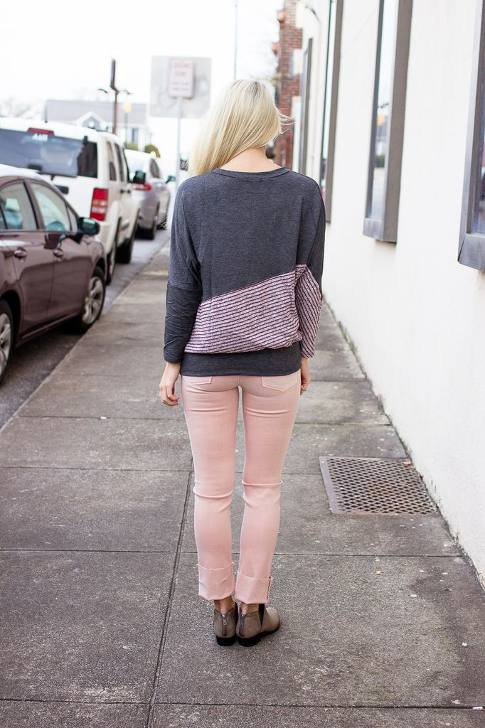 Diagonal Color Block Sweater