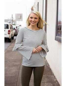 Striped Bell Sleeve Ruffle Detailed Top
