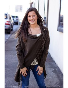 She & Sky Wrap Sweater Cardigan with Fringe