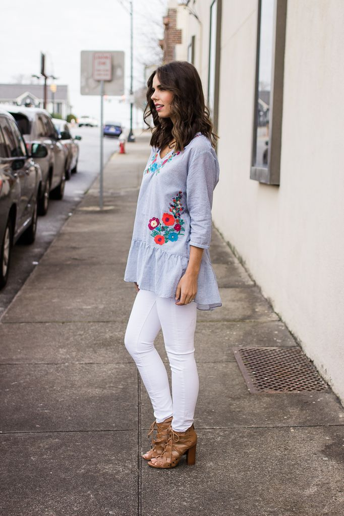 Embroidery Accent Ruffle Hem Top