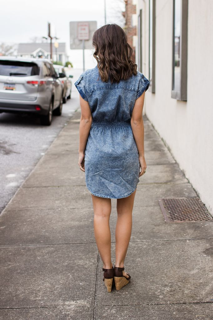 Acid Washed Button Down Dress