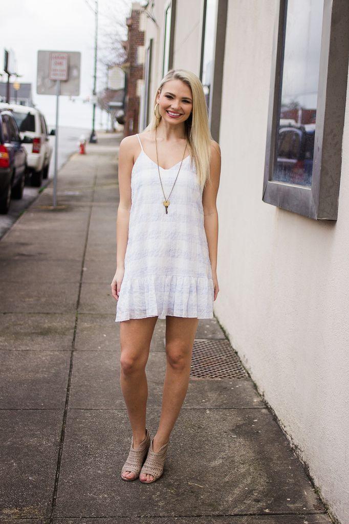 Karlie Washed Novelty PlaId Cami Ruffle Bottom Dress