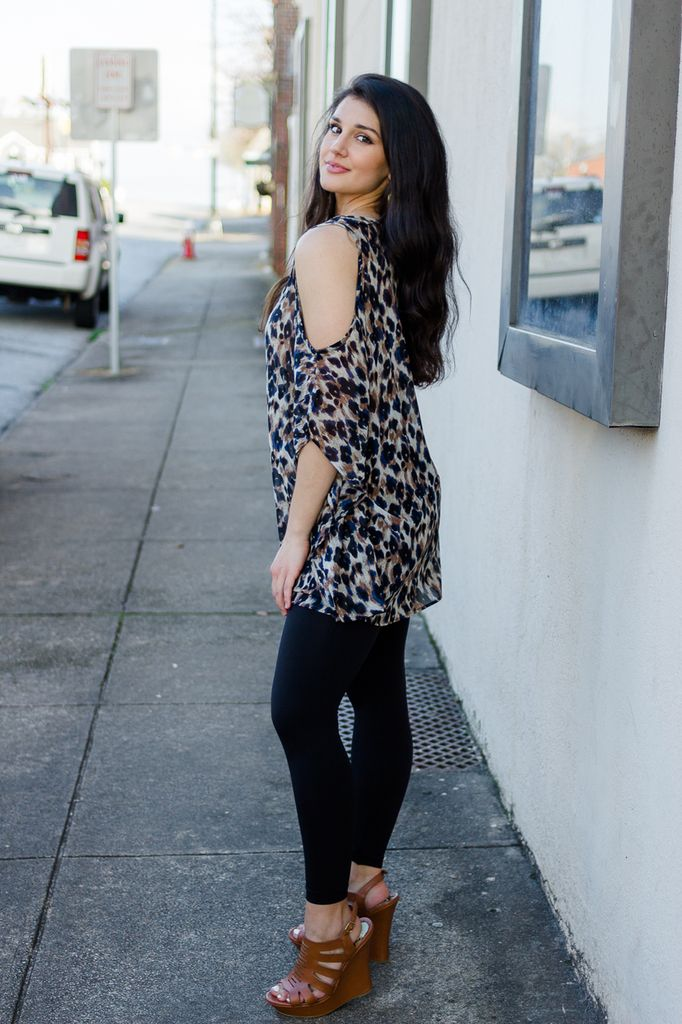 By Together Cold Shoulder Leopard Print Chiffon Tunic