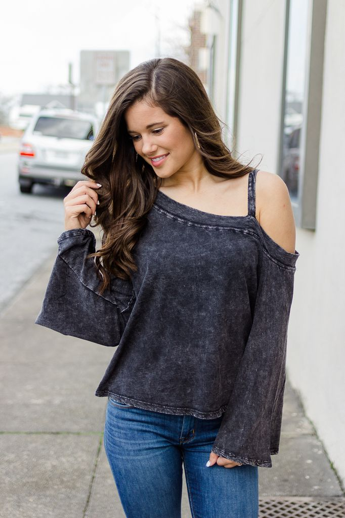 Runaway Single Off Shoulder Acid Wash Top
