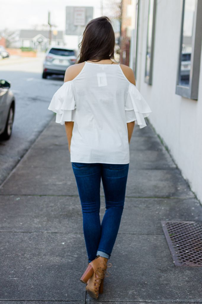 TCEC Cold Shoulder Ruffle Sleeve Blouse