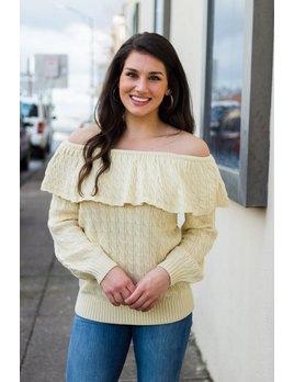 TCEC Off Shoulder Ruffle Sweater