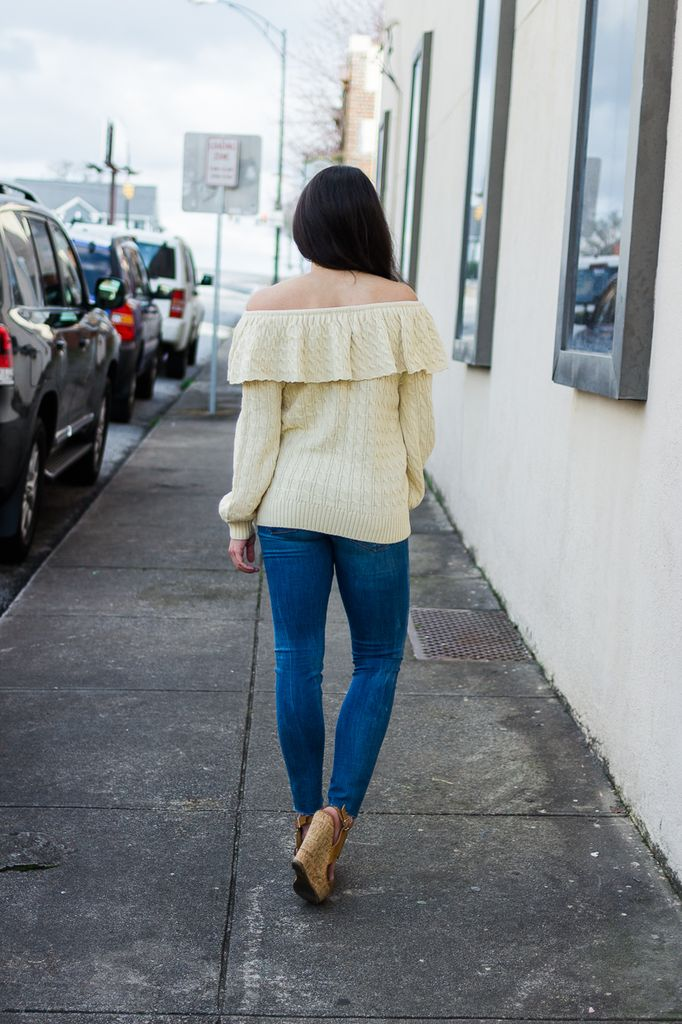 TCEC Off Shoulder Ruffle Sweater