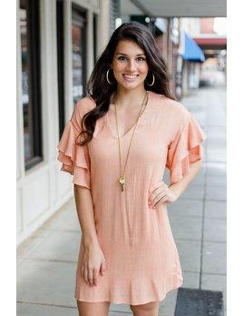 Karlie Solid Gauze V-Neck Ruffle Sleeve Dress