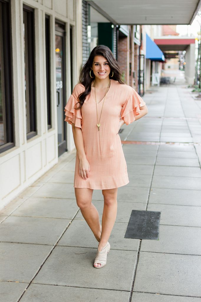 Karlie Solid Gauze V-Neck Ruffle Sleeve Dress