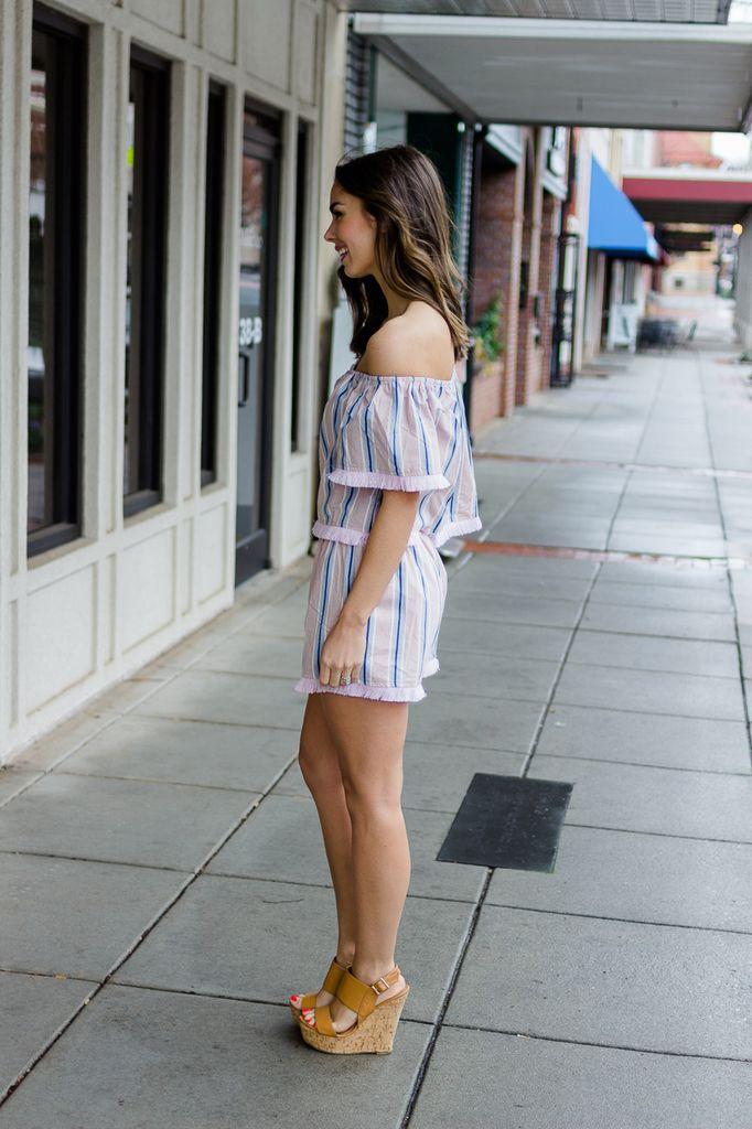 Karlie Stripe Off Shoulder Top/Short Set