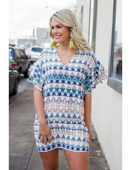 Karlie V-Neck Geometric Ruffle Sleeve Dress