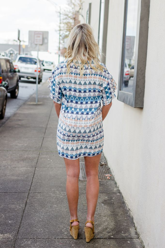 Karlie V-Neck Geometric Ruffle Sleeve Dress