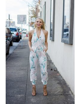 Karlie Tropical Leaf Halter Jumpsuit