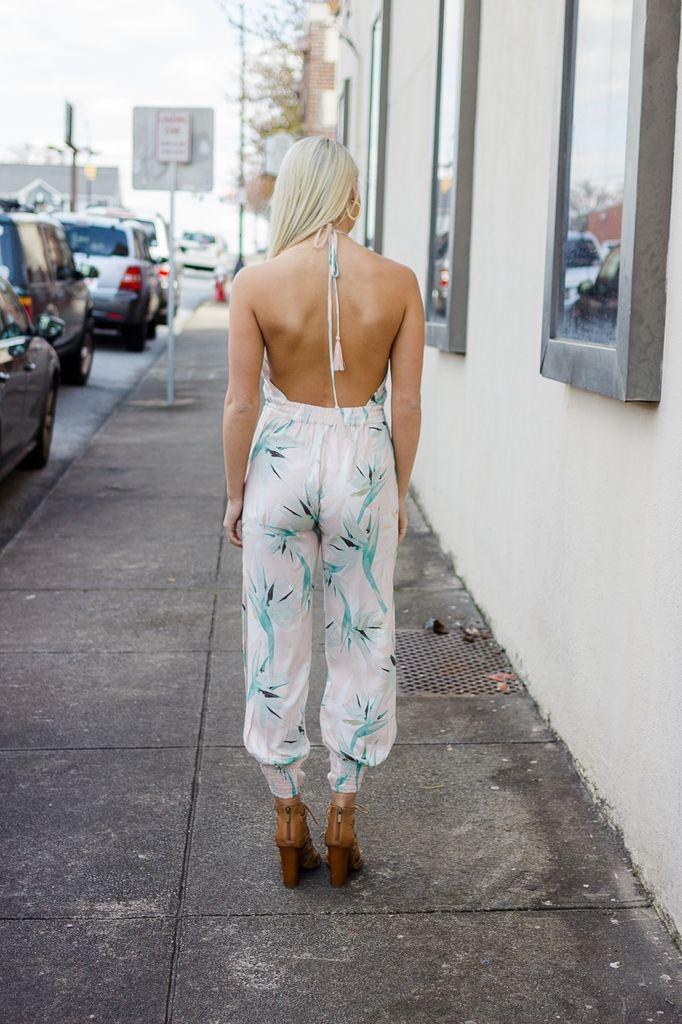Karlie Tropical Leaf Halter Jumpsuit