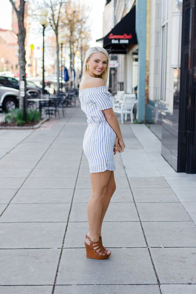 Karlie Stripe Off Shoulder Tie Dress