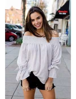 She & Sky Striped Off Shoulder Top with Tie Sleeves