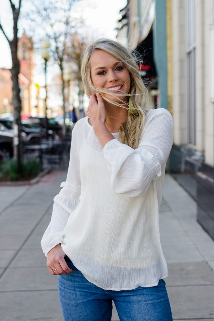 She & Sky Long Sleeve Top with Sleeve Smocking Detail