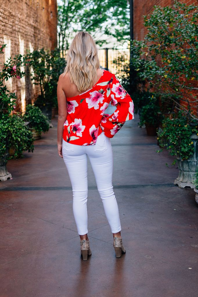 Karlie Floral One Shoulder Tier Sleeve Top