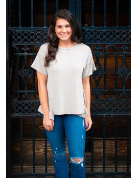 Karlie Solid Front Ruffle Bottom Tee