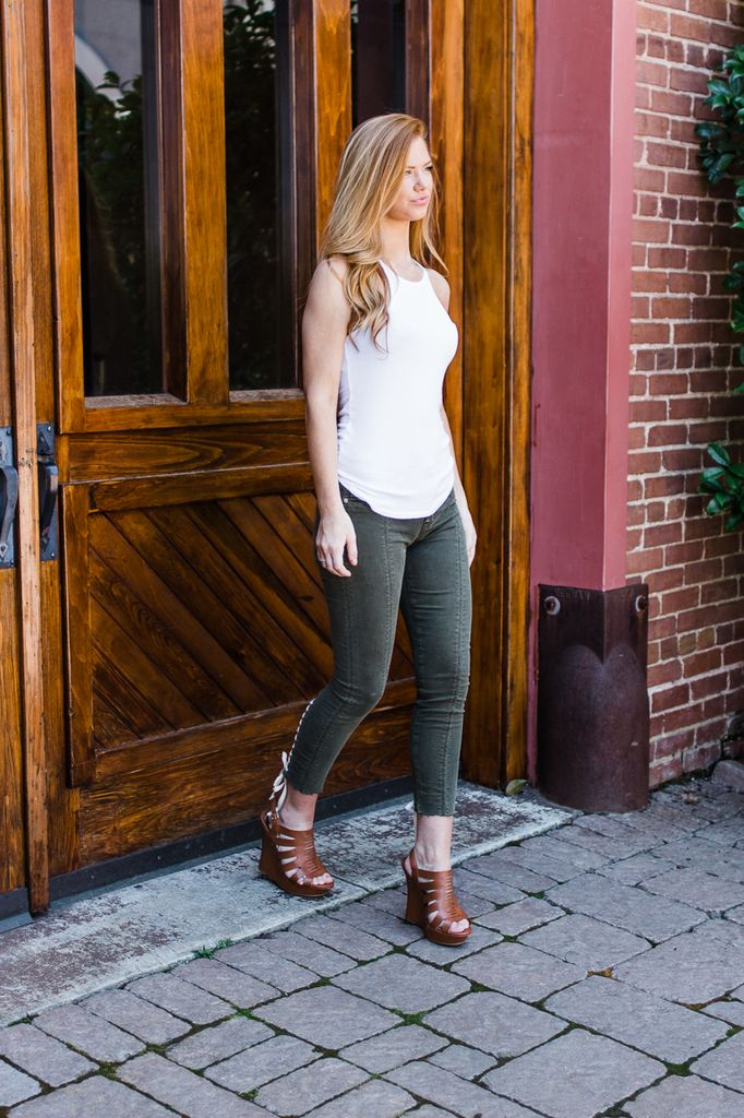 Hudson Nico Crop Lace Up Super Skinny in Crushed Olive