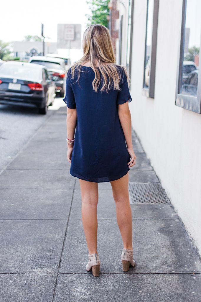 Freesia Ruffle Sleeve V-Neck Dress