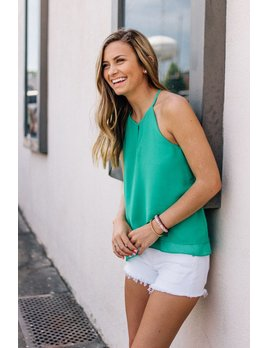 She & Sky Halter Neck Top with Front Tulip Detail