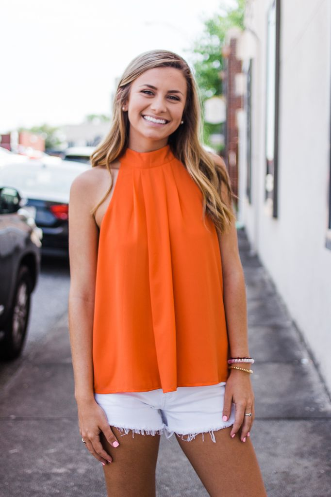She & Sky Halter Top with Twisted Back and Button Neck