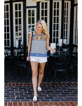 THML Sleeveless Stripe Top with Embroidery and Pom Pom Trim