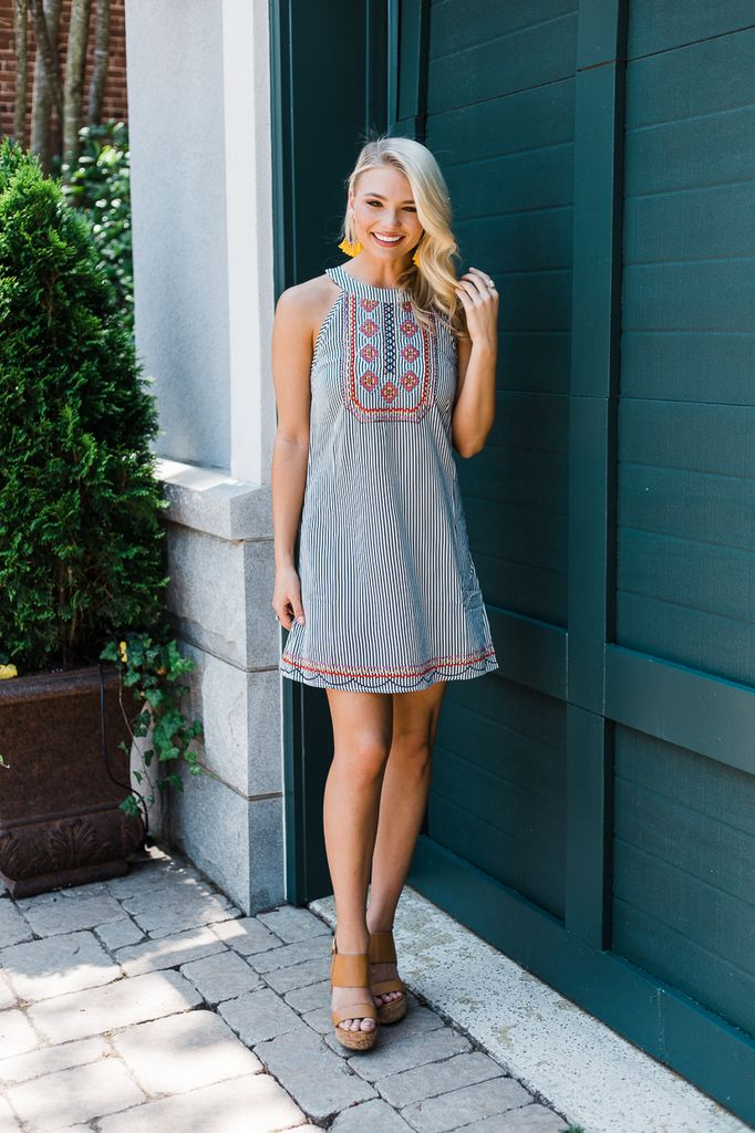 THML Embroidered Halter Dress with Scallop Hem