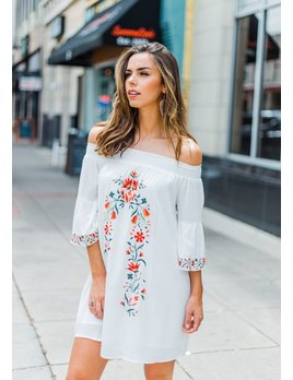 Taryn Floral Embroidered Off Shoulder Dress